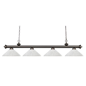 Riviera Olde Bronze Four-Light Pendant with Angle White Linen Shade