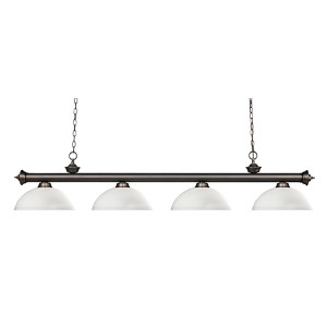 Riviera Olde Bronze Four-Light Pendant with Dome Matte Opal Glass