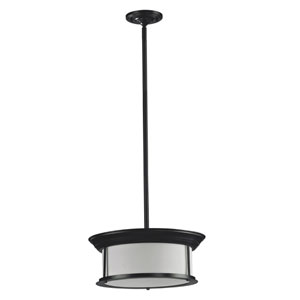 Sonna Three-Light Bronze Pendant with Matte Opal Glass Shade