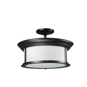 Sonna Three-Light Bronze Semi-Flush Mount with Matte Opal Glass