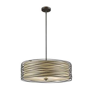 Zinnia Bronze 20-Inch Three-Light Drum Pendant