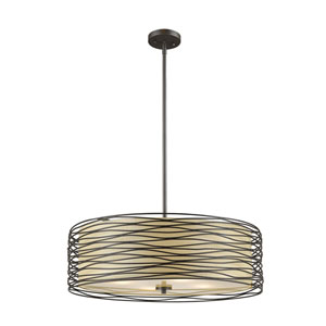 Zinnia Bronze Four-Light Drum Pendant
