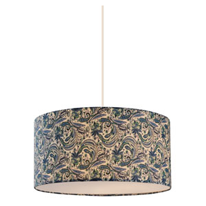 Astra White 16-Inch Three-Light Pendant with Blue Fabric Shade
