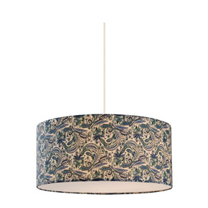 Astra White 20-Inch Three-Light Pendant with Blue Fabric Shade