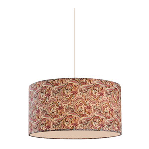 Astra White 16-Inch Three-Light Pendant with Burgundy Fabric Shade