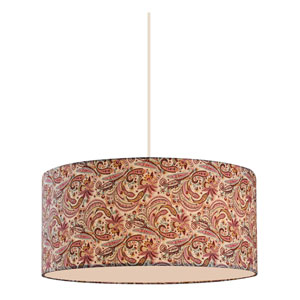 Astra White 20-Inch Three-Light Pendant with Burgundy Fabric Shade