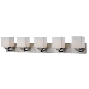 Quube Five-Light Brushed Nickel Vanity Light with Matte Opal Glass Shades