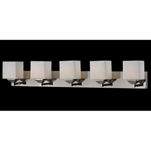 Quube Five-Light Chrome Vanity Light with Matte Opal Glass Shades
