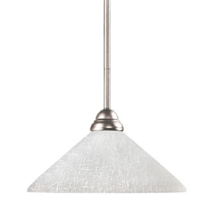 Riviera One-Light Brushed Nickel Dome Pendant with Angled White Linen Glass Shade