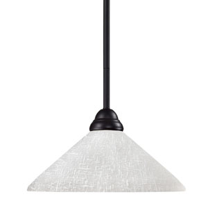 Riviera One-Light Bronze Dome Pendant with Angled White Linen Glass Shade