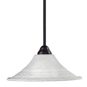 Cobra One-Light Bronze Dome Pendant with Fluted White Mottle Shade