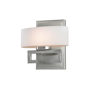 Cetynia One-Light Brushed Nickel Vanity Light with Curved Matte Opal Glass Shade