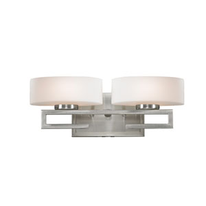 Cetynia Two-Light Brushed Nickel Vanity Light with Curved Matte Opal Glass Shades