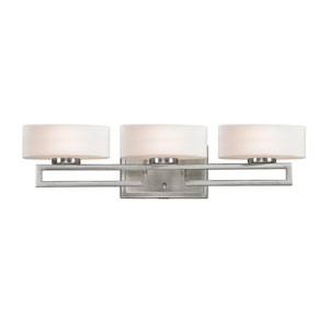 Cetynia Three-Light Brushed Nickel Vanity Light with Curved Matte Opal Glass Shades
