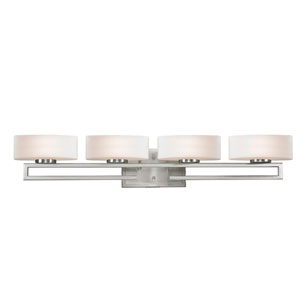 Cetynia Four-Light Brushed Nickel Vanity Light with Curved Matte Opal Glass Shades