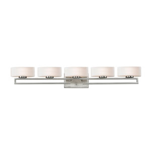 Cetynia Brushed Nickel Five-Light LED Bath Vanity