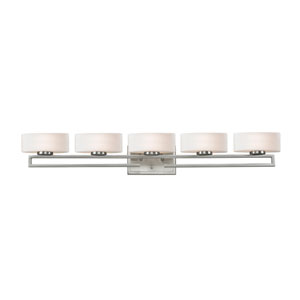 Cetynia Five-Light Brushed Nickel Vanity Light with Curved Matte Opal Glass Shades
