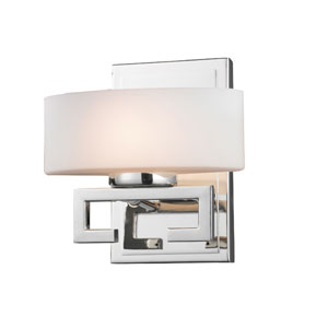 Cetynia One-Light Chrome Vanity Light with Curved Matte Opal Glass Shade