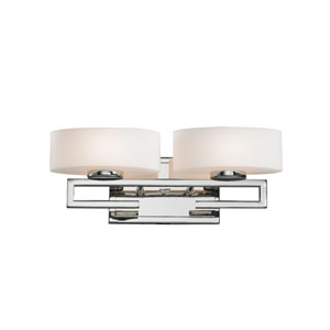 Cetynia Two-Light Chrome Vanity Light with Curved Matte Opal Glass Shades