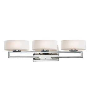 Cetynia Three-Light Chrome Vanity Light with Curved Matte Opal Glass Shades