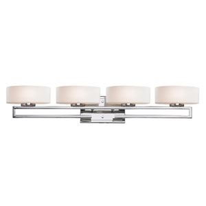 Cetynia Chrome Four-Light LED Bath Vanity
