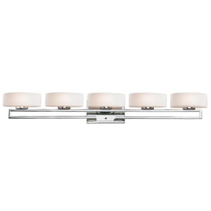 Cetynia Chrome Five-Light LED Bath Vanity