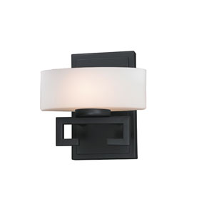 Cetynia One-Light Painted Bronze Vanity Light with Rounded Matte Opal Glass Shade