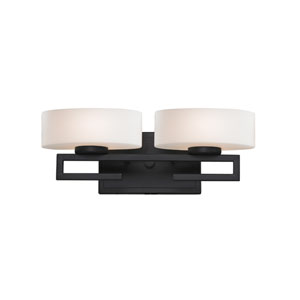 Cetynia Two-Light Painted Bronze Vanity Light with Rounded Matte Opal Glass Shades