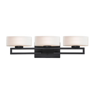 Cetynia Three-Light Painted Bronze Vanity Light with Rounded Matte Opal Glass Shades