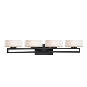 Cetynia Four-Light Painted Bronze Vanity Light with Rounded Matte Opal Glass Shades