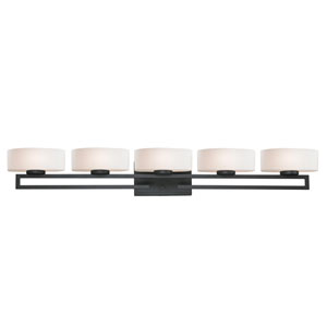 Cetynia Five-Light Painted Bronze Vanity Light with Rounded Matte Opal Glass Shades