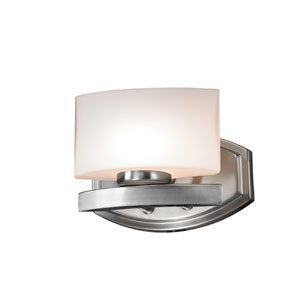 Galati One-Light Brushed Nickel Vanity Light with Rounded Matte Opal Glass Shade