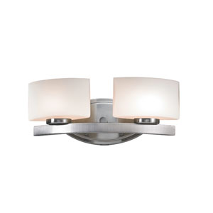 Galati Two-Light Brushed Nickel Vanity Light with Rounded Matte Opal Glass Shades