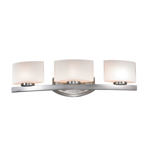 Galati Three-Light Brushed Nickel Vanity Light with Rounded Matte Opal Glass Shades