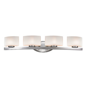 Galati Four-Light Brushed Nickel Vanity Light with Rounded Matte Opal Glass Shades