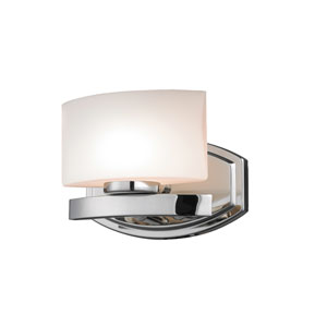 Galati One-Light Chrome Vanity Light with Rounded Matte Opal Glass Shade