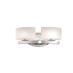 Galati Two-Light Chrome Vanity Light with Rounded Matte Opal Glass Shades