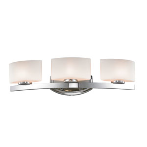 Galati Three-Light Chrome Vanity Light with Rounded Matte Opal Glass Shades