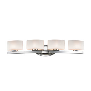 Galati Four-Light Chrome Vanity Light with Rounded Matte Opal Glass Shades
