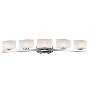 Galati Five-Light Chrome Vanity Light with Rounded Matte Opal Glass Shades