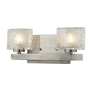 Rai Brushed Nickel Two-Light LED Bath Vanity