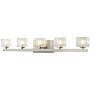 Rai Brushed Nickel Five-Light LED Bath Vanity