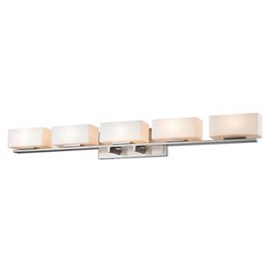 Kaleb Brushed Nickel Five-Light LED Bath Vanity
