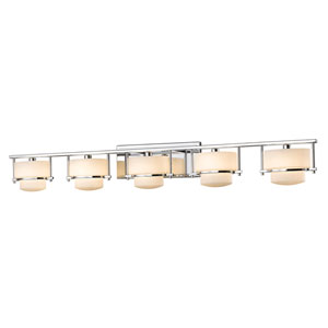 Porter Chrome Five-Light LED Bath Vanity