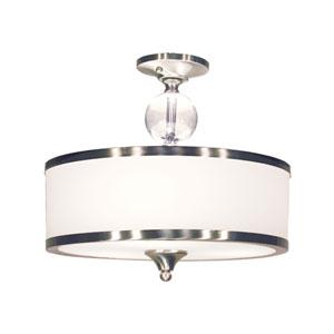 Cosmopolitan Brushed Nickel Three-Light Semi Flush Mount
