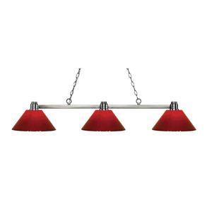 Park Brushed Nickel Three-Light Billiard Pendant with Red Plastic Shades