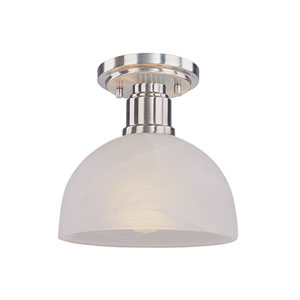 Chelsey Brushed Nickel One-Light Flush Mount with White Swirl Glass