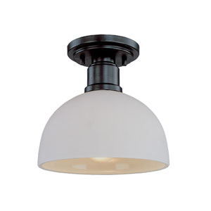 Chelsey Dark Bronze One-Light Flush Mount with Matt Opal Glass