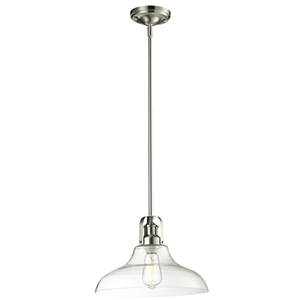 Forge Brushed Nickel One-Light Pendant with Clear Glass