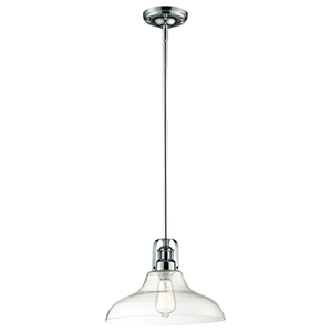 Forge Chrome One-Light Pendant with Clear Glass
